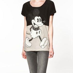 Zara Mickey Mouse Black Blouse Sz Medium